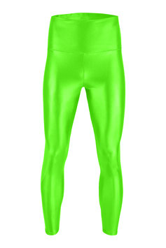 Herren Wetlook High-Waist Leggings neongrün