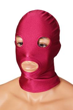 Kopfhaube (Maske) bordeaux, mit Löchern für Mund und Augen
