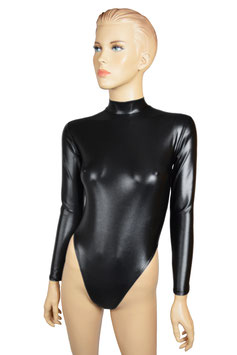 Damen Wetlook Stringbody lange Ärmel RRV schwarz