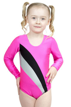 "Kinder Gymnastikanzug ""Claudia"" pink-schwarz-silber"