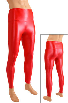 Herren Wetlook High-Waist Leggings rot