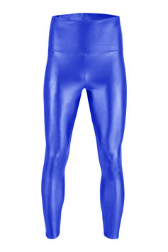 Herren Wetlook High-Waist Leggings royalblau