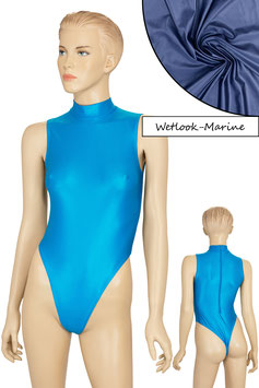 Damen Wetlook Stringbody ohne Ärmel Kragen Rücken-RV marine