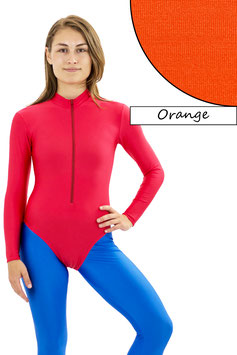 Damen Body lange Ärmel Front-RV orange