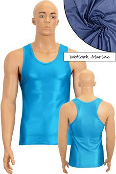 Herren Wetlook Boxerhemd Slim Fit marine