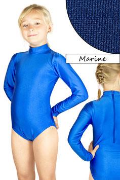 Kinder Gymnastikanzug lange Ärmel Kragen Rücken-RV marine