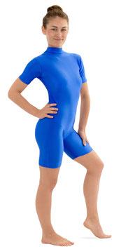Damen Fitnessanzug Rücken-RV kurze Ärmel kurze Beine Royalblau