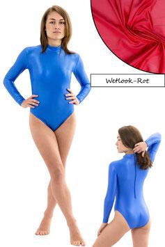 Damen Wetlook Body lange Ärmel RRV rot