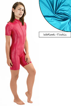 Damen Wetlook Ganzanzug kurze Ärmel und Beine FRV türkis