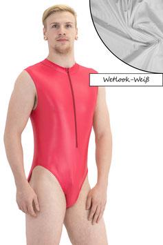 Herren Wetlook Body ohne Ärmel Front-RV weiß
