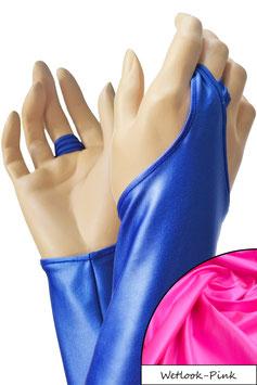 Wetlook Armstulpen mit Schlaufe pink