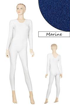 Damen Ganzanzug lange Ärmel Rundhals marine