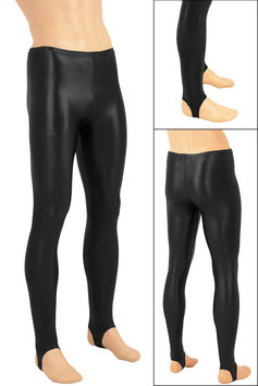 Herren Wetlook Leggings mit Steg schwarz