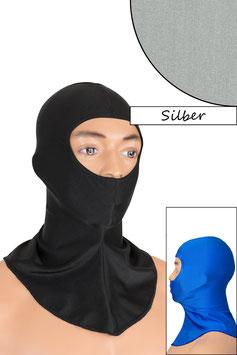 Sturmhaube Augen+Nase offen silber
