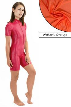 Damen Wetlook Ganzanzug kurze Ärmel und Beine FRV orange