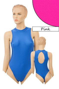 Damen Stringbody ovaler Rückenausschnitt Kragen Druckverschluss pink