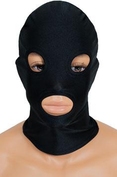 Kopfhaube (Maske) schwarz, mit Löchern für Mund und Augen