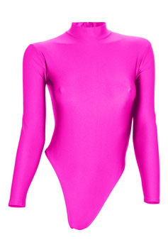 Damen Stringbody RRV+Kragen lange Ärmel pink