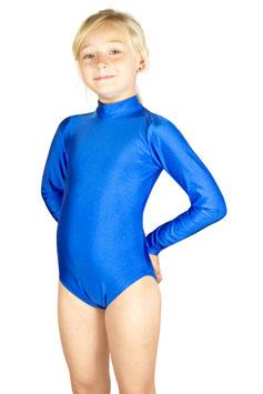 Kinder Gymnastikanzug lange Ärmel Kragen Rücken-RV royalblau