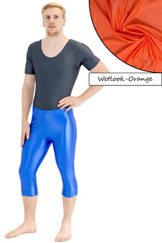 Herren Wetlook Caprihose orange