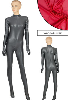 Damen Wetlook Ganzanzug RRV+SRV+Hand+Fuß rot