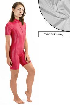 Damen Wetlook Ganzanzug kurze Ärmel und Beine FRV weiß