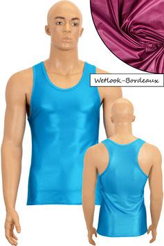 Herren Wetlook Boxerhemd Slim Fit bordeaux