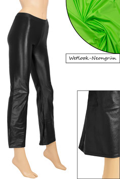 Damen Wetlook Jazzpant neongrün