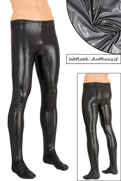 Herren Wetlook Leggings mit Fuss anthrazit