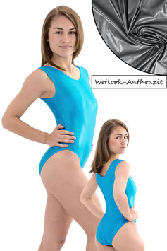 Damen Wetlook Body ohne Ärmel anthrazit