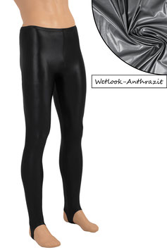 Herren Wetlook Leggings mit Steg anthrazit