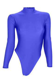 Damen Stringbody RRV+Kragen lange Ärmel royalblau