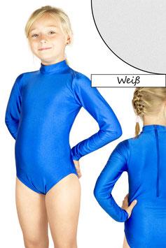 Kinder Gymnastikanzug lange Ärmel Kragen Rücken-RV weiß