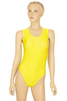 Damen Body Druckverschluss lange Ärmel Rundhals gelb