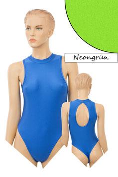 Damen Stringbody ovaler Rückenausschnitt Kragen Druckverschluss neongrün
