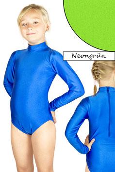 Kinder Gymnastikanzug lange Ärmel Kragen Rücken-RV neongrün