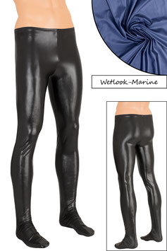 Herren Wetlook Leggings mit Fuss marine
