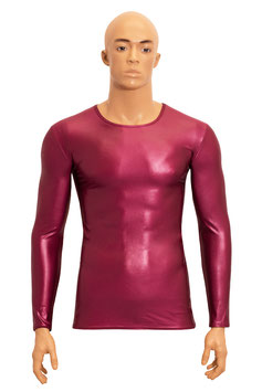 Herren Wetlook T-Shirt lange Ärmel bordeaux