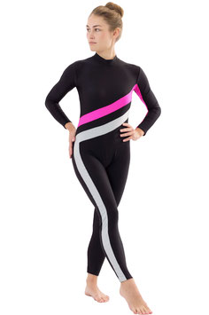 """Voltigieranzug """"Emmi"""" lang-Arm-Bein RRV schwarz-pink-silber"""