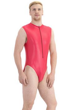 Herren Wetlook Body ohne Ärmel Front-RV rot