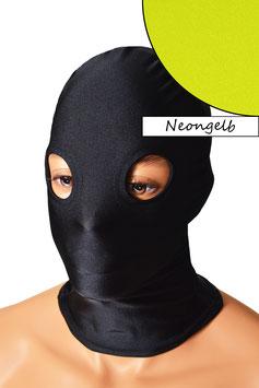 Kopfhaube (Maske) neongelb, mit Löchern für Augen