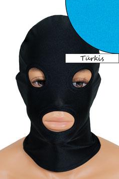 Kopfhaube (Maske) türkis, mit Löchern für Mund und Augen