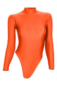 Damen Stringbody RRV+Kragen lange Ärmel orange