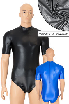 Herren Wetlook Body kurze Ärmel Rücken-RV anthrazit