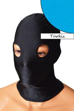 Kopfhaube (Maske) türkis, mit Löchern für Augen
