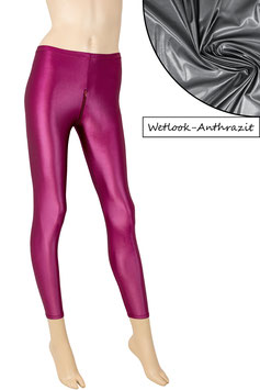 Damen Wetlook Leggings mit Schritt-RV anthrazit