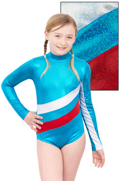 "Kinder Gymnastikanzug ""Emmi"" türkis-weiß-rot"