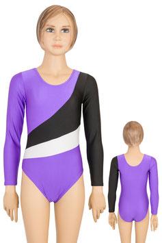 """Kinder Gymnastikanzug """"Diana"""" lila-schwarz-weiß"""
