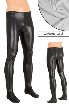 Herren Wetlook Leggings mit Fuss weiß