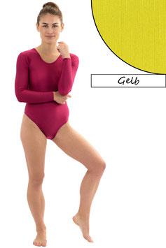 Damen Body lange Ärmel Rundhals gelb